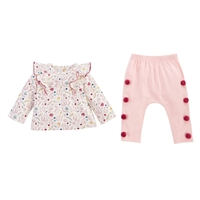 Girls Pink Forest Two Piece Set Girls Outfit Set at Little-Minnows.com