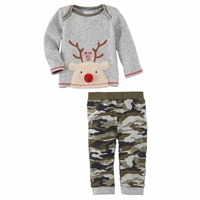 Mud Pie Reindeer Camo Two-Piece Set at Little-Minnows.com