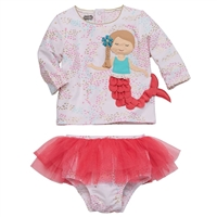Girls' Mermaid Rash Guard Bikini Set at Little-Minnows.com