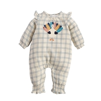 Girls' Turkey Romper Thanksgiving Day Outfit at Little-Minnows.com