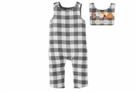 Thanksgiving and Halloween Holiday Plaid Baby Overalls and Bib Set at www.Little-Minnows.com