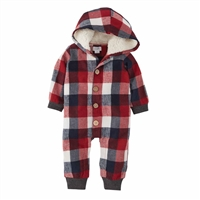 Mud Pie Buffalo Check Hooded Boy 1-Piece at Little-Minnows.com