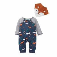 Fox Baby Bodysuit and Bib Set at www.Little-Minnows.com
