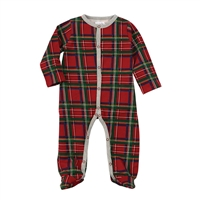 Christmas Red Tartan Plaid Footed Sleeper at www.little-minnows.com