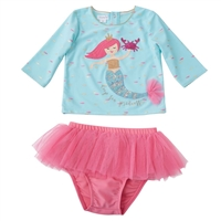 Girls' Mermaid Rash Guard Set at Little-Minnows.com