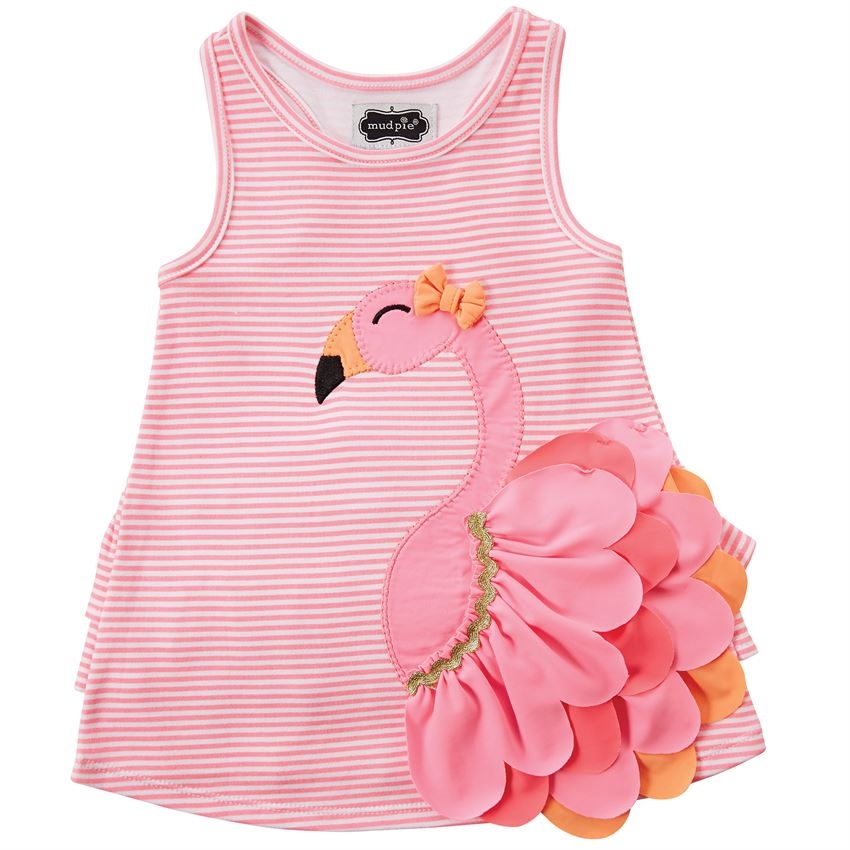 a26e0b273 Girl Flamingo Dress with Butt Ruffles available at www.Little-Minnows.com,