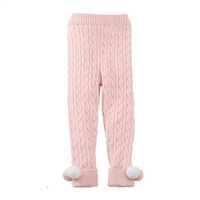 Girls' Pink Cable Knit Pom-Pom Leggings at www.Little-Minnows.com