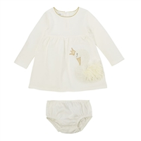 Girls' Swan Dress & Bloomer Set
