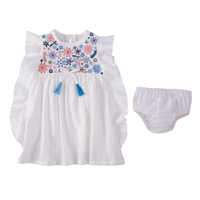 Girls' Floral Blue Embroidered Dress at Little-Minnows.com