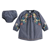 Girls' Chambray Embroidery Dress at Little-Minnows.com