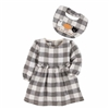 Holiday Plaid Halloween Thanksgiving Baby Dress and Bib Set at www.Little-Minnows.com