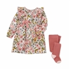 Fall Floral Baby Dress and Tight Set at www.Little-Minnows.com