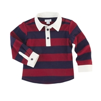 Boys' Long Sleeve Red & Navy Striped Rugby Shirt at Little-Minnows.com