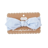 Girls' Knotted Bow Seersucker Soft Headband at Little-Minnows.com