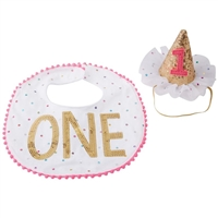 "Baby Girl Birthday Bib & Hat ""One"" Sparkles www.Little-Minnows.com"