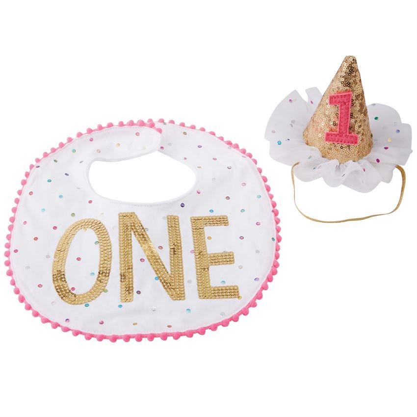 Baby Girl Birthday Bib Hat One Sparkles