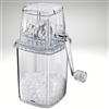 Ice crusher with turn crank handle, rust free stainless steel, acrylic.