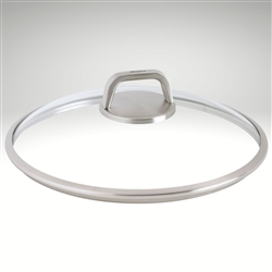 Image of the Diamond Lite Pro Glass Lid, featuring tempered glass and a stainless steel rim and handle.