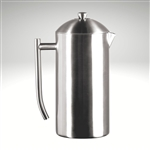 The Frieling French Press in brushed stainless steel finish, an image showing details of assembly and all parts that are included. Comes with stick, nut, plunger, lid, screens, cross, and plate.