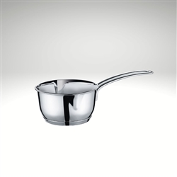 Image of the Kuchenprofi Mini Saucepan with Clad Bottom, induction ready. Image of the saucepan that comes in multiple sizes being used to cook sauce.