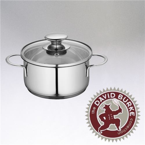 Image of the Kuchenprofi Mini Stockpot with glass lid, stainless steel and two handles on the side.