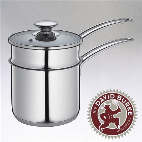 Image of the Kuchenprofi Mini Double Boiler with glass lid, stainless steel and two handles on the side.