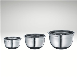 Image of the Kuchenprofi stainless steel non slip mixing bowl complete set, all three sizes.