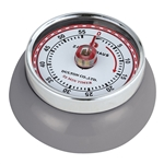 Adorable retro style kitchen timer in the shade cool gray. Super strong magnetic back, classic red markings, and turn dial to set the time up to 60 minutes.