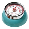 Adorable retro style kitchen timer in the shade cool teal. Super strong magnetic back, classic red markings, and turn dial to set the time up to 60 minutes.