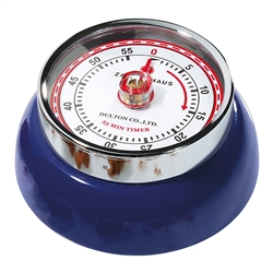 Adorable retro style kitchen timer in the shade navy blue. Super strong magnetic back, classic red markings, and turn dial to set the time up to 60 minutes.
