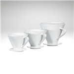Image of all three sizes of the Porcelain Filter Holders used for pour-over coffee brewing.