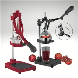 "Image of ""The Press"" for pomegranates and oranges in multiple colors, red and black. Images of The Press being used to juice pomegranates and oranges."