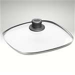 "Glass lid, square w/ vented knob, 11"" x 11"""