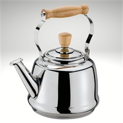 Cilio water kettle tradition, stinless steel water kettle, with wood handle and knob, two tone whistle, works on induction