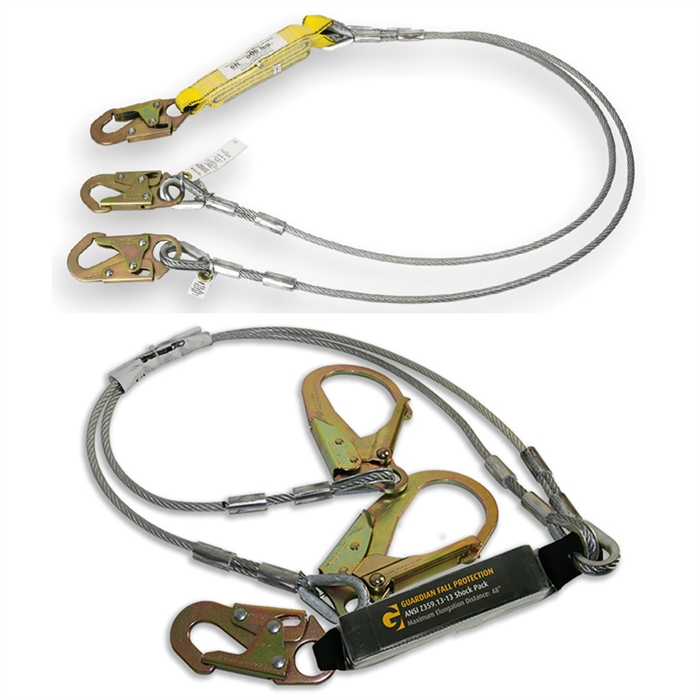01241 2?1541761138 fall protection cable lanyard with shock absorber harness land