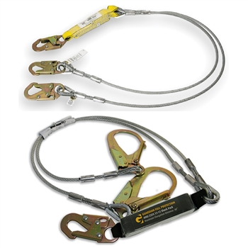 6' Double Cable Lanyard w/ Snap or Rebar hooks