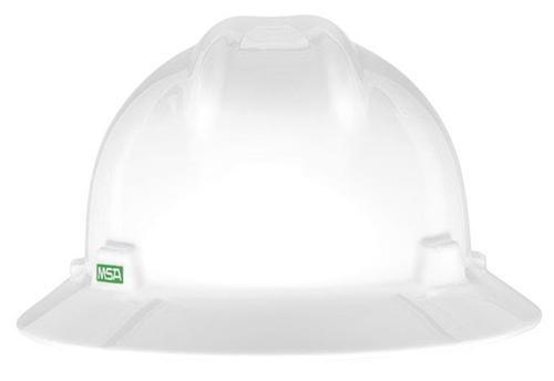 Msa V Gard Full Brim Hard Hat White Harness Land