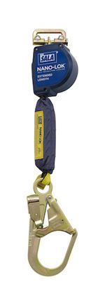 Nano-Lok Extended Length Quick Connect Self Retracting Lifeline with Steel Rebar Hook - Web | 3101592