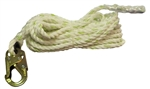 "FSP 5/8"" Rope Lifeline with Double Action Snap Hook - 200' 