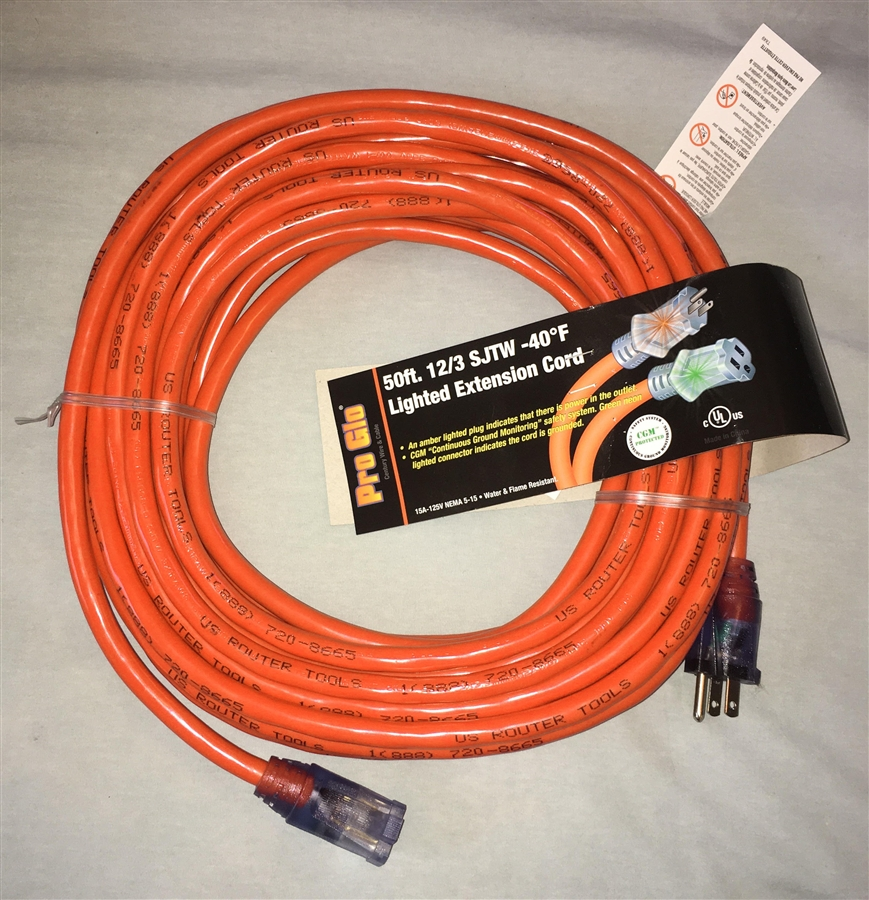 Pro Glo\'s 50ftHeavy Duty 12/3 SJTW Lighted Extension Cord in Red