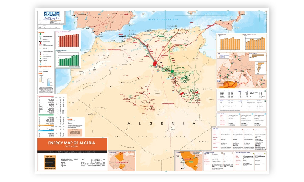 Energy Map Of Algeria Petroleum Economist Store - Algeria map