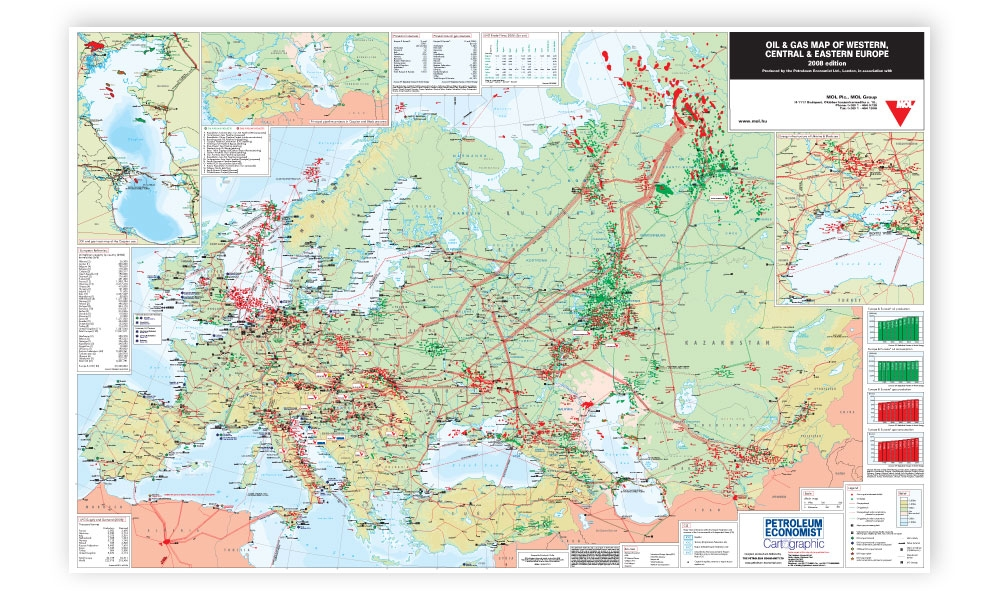 Oil gas map of western central eastern europe petroleum alternative views gumiabroncs Image collections