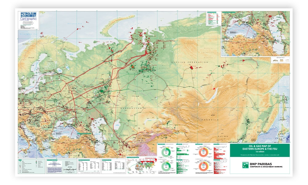 Oil And Gas Map Of Eastern Europe The FSU Petroleum Economist - Map of eastern europe