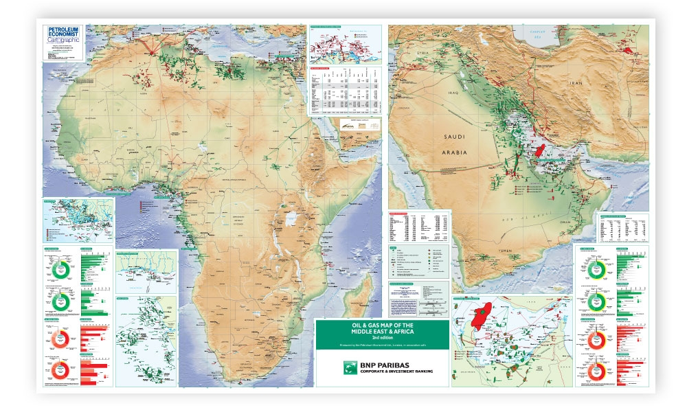 Oil Gas Map Of The Middle East Africa Petroleum Economist Store - Gas map