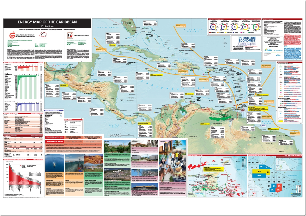 Energy Map Of The Caribbean Petroleum Economist Store - Map caribbean