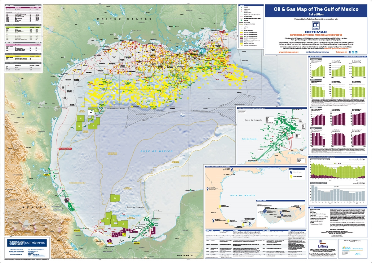 Oil Gas Map Of The Gulf Of Mexico Petroleum Economist Store - Gas map