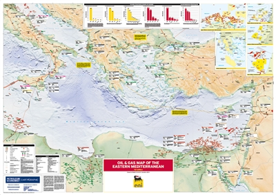 Map | Oil and Gas Map of the Eastern Mediterranean, 1st edition