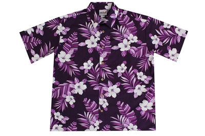 Mens purple Hawaiian shirt with hibiscus flowers and fronds in a allover print
