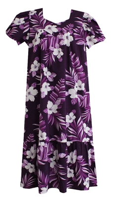 Womens purple mid-calf Hawaiian muumuu dress with white hibiscus flowers and torn banana leaf allover