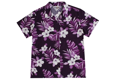 Womens purple Hawaiian shirt with white hibiscus flowers and torn banana leaf